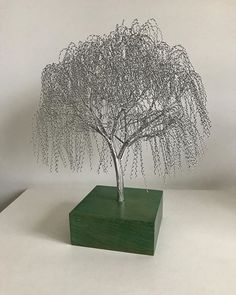 is mounted on a green stained oak base. How To Make Trees, Bonsai Wire, Wire Wall Art, Wire Tree Sculpture, Wire Trees, Woodland Forest, Big Tree, Wire Crafts, Magazine Art
