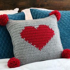 Crochet Valentine's Pompom Heart Pillow - MJ's off the Hook Designs Crochet Hot Pads, Crochet Baby, Free Crochet, Easy Crochet Patterns, Baby Patterns, Crochet Ideas, Heart Pillow, Baby Pillows, Knitting Projects