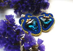 Soutache earrings small Blue gold soutache от JaneEJewelry на Etsy