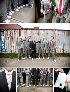 groomsmen details are color coordinated ties with their adidas wedding shoes and the groom
