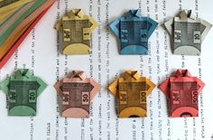 Monopologami. this upcycled recycled monopoly money would make great embellishments for cards
