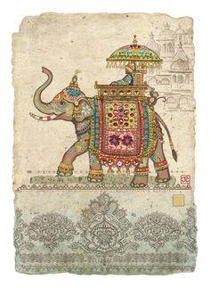Bug Art D144 Elephant Collage greetings card