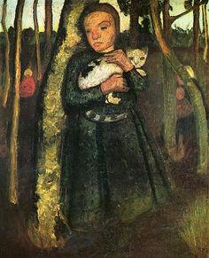 Paula Modersohn-Becker (1876-1907) - Girl with Cat in the birch forest, 1904