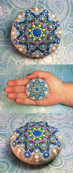 Mandala Stone (Junior) by Kimberly Vallee: Hand painted with acrylic and protected with a matt finish, this junior stone is a touch smaller than my usual stones, at about 2.5 diameter. It is one-of-a-kind.