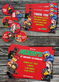 The Lego Movie Party Pack Printable Invitation Thank You Card Circle Cupcake Topper Sticker