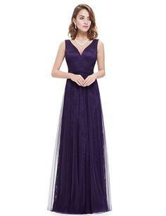 abc7ee75fcdaf Ever-Pretty Womens Empire Waist Floor Length Maxi Evening Dress 12 US  Purple Empire