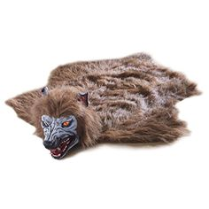 Halloween Decoration - Animated Lifelike Werewolf Rug - Howls and Eyes Glow Red When You Step on its fur