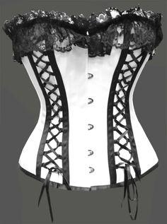 Black and white ribbon corset
