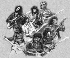 Amalgam of the greats Stevie Ray Vaughan, Eric Clapton, Angus Young, Jimmy Page, Jimi Hendrix, Heavy Metal, Tony Iommi, Isle Of Wight Festival, Guitar Posters