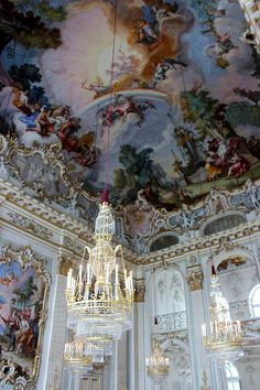 Germany Nymphenburg Palace. Would be awesome to paint my art studio ceiling like this.