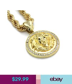 "Necklaces & Pendants Mens 14K Gold Plated 30"" Rope Chain Lion Face Black Eyes Pendant Necklace #ebay #Fashion"