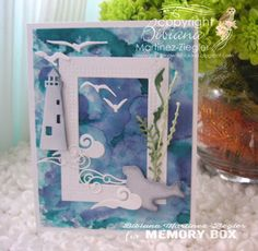 Stamping with Bibiana: Summer Backgrounds using memory box dies marine card background made with alcohol inks Memory Box Dies, Summer Backgrounds, New Theme, I Card, Card Stock, Alcohol Inks, Card Making, Arts And Crafts, Memories