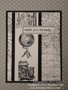 Traveler, World Map and Just Sayin' are used for this Black and White Stampin' Up! Convention swap 2014