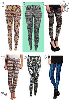 Patterned leggings... remind me of Native American patterns