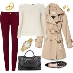 real outfit | wine jeans + cream sweater + beige trench