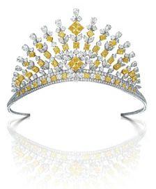 GRAFF DIAMOND TIARA-Brilliant, Marquise, Pear-shaped Diamond tiara with Yellowradiant diamonds total weight 96.39 carats.