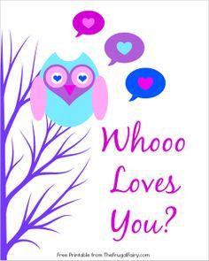Owl Valentine Printables