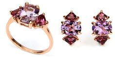 Gorgeous Handmade Set of Ring (size 7) and Earrings with NATURAL Changing-color AMETHYST and RHODOLITE Garnet - 925 Sterling Silver