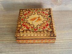 Vintage Cigarette Box Hand painted Wooden Box Retro