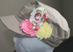 Ladies or Youth Shabby Flower Cadet Military Hat. $19.99, via Etsy.