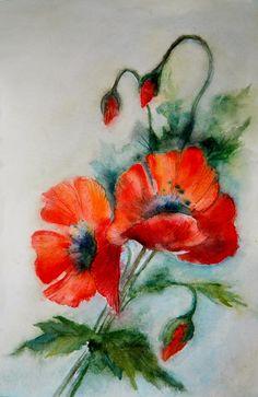 Watercolor Poppies, Watercolor And Ink, Watercolor Paintings, Oriental Flowers, Poppies Tattoo, Batik Art, Sunflower Art, Cool Art Drawings, Fruit Art