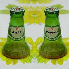 Turn empty beer bottles into Herb Shakers, genius! Reuse Bottles, Bottles And Jars, Beer Bottles, Glass Bottles, Salt N Pepper, Salt Pepper Shakers, Glass Bottle Crafts, Bottle Art, Bottle Cutter