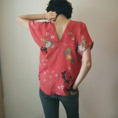 Kimono Remake : Silk top Refashionning kimono