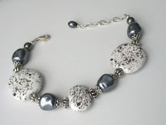 Gray and White Speckled Kazuri Bead by GinasCreativeAccents