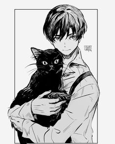 Anime Pixel Art, Anime Art, Manga Boy, Manga Anime, Men With Cats, 91 Days, Otaku, Cat Drawing, Cute Illustration