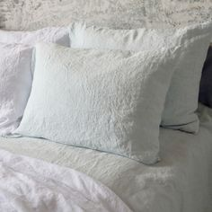 Ice Blue Washed Bed Linen Pillow Case