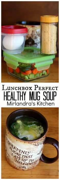 Healthy Mug Soup is a simple and delicious vegetable egg soup. Add this to your lunchbox routine - It is a snap to prep, pack and cook in any microwave. (Paleo Vegetarian Mug Cakes) Healthy Snacks, Healthy Eating, Healthy Recipes, Healthy Soup, Asian Recipes, Asian Foods, Mug Recipes, Cooking Recipes, Recipies