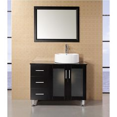 Shop for Design Element Malibu Single Sink Espresso Finish Bathroom Vanity Set. Get free delivery On EVERYTHING* Overstock - Your Online Furniture Outlet Store! Get in rewards with Club O! Vanity Set With Mirror, Single Sink Bathroom Vanity, Vanity Sink, Modern Bathroom, Bathroom Ideas, Bathroom Vanities, Single Vanities, Small Bathroom, Master Bathroom