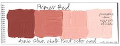 Annie Sloan Chalk Paint Ⓒ interpreted in a classical style. A unique color combination of Graphite, Primer Red, Scandinavian Pink, and. Annie Sloan Chalk Paint Primer Red, Annie Sloan Paints, Paint Color Swatches, Paint Color Palettes, Annie Sloan Painted Furniture, Chalk Paint Furniture, Furniture Refinishing, Annie Sloan Farbe, Paint Color Wheel