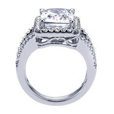 14k White Gold Diamond Halo Engagement Ring | Gabriel & Co NY | ER5877W44JJ