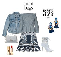 """""""Peter Pilotto skirt, Valentino ruffled sweater, Levi's jacket"""" by mkdetail ❤ liked on Polyvore featuring Peter Pilotto, Levi's, RED Valentino, Manolo Blahnik, Sole Society, Elizabeth Cole and Yves Saint Laurent"""