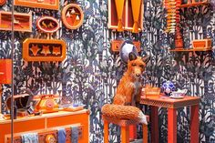 Hermés 'Fox's Den' window display made out of just paper and leather, by Zim&Zou (via My Modern Met)