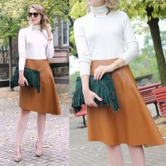 Ivanka Trump Heels and Asos Clutch and worthington Sweater and JCPenney Skirt and J.Crew Necklace
