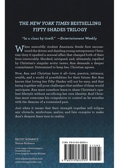 Fifty Shades Freed Book 3 - When unworldly student Anastasia Steele first encountered the driven and dazzling young entrepreneur Christian Grey it sparked a sensual affair that changed both of their lives irrevocably. Shocked, intrigued, and, ultimately, repelled by Christians singular erotic tastes, Ana demands a deeper commitment. Determined to keep her, Christian agrees.Now, Ana and Christian have it all love, passion, intimacy, wealth, and a world of possibilities for their future. But…