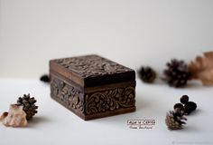 """Купить """"Райский сад"""" деревянная шкатулка 12х8 см Коричневый Резьба по дереву - япония, белый"""