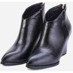 SheIn(sheinside) Black PU Point Toe Wedge Heel Ankle Boots (55 CAD) ❤ liked on Polyvore featuring shoes, boots, ankle booties, black wedge boots, black ankle boots, black wedge bootie, black bootie and high heel ankle boots