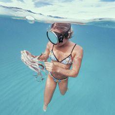 """Under the sea with the beautiful @elliehayden Photo @neverlandboys.co Ellie is wearing TROP ROCK TRI shop in bio"""