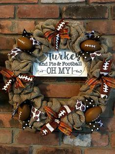 "Turkey and Cake and Football Oh My 16 ""Fall Burlap Wreath - Anchor Bay Life, Wreath Crafts, Diy Wreath, Burlap Wreaths, Wreath Fall, Mesh Wreaths, Diy Holiday Gifts, Diy Gifts, Football Wreath, Fall Football"