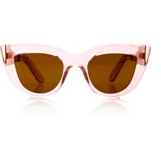Ellery Transparent Cat-Eye Sunglasses (€440) ❤ liked on Polyvore featuring accessories, eyewear, sunglasses, glasses, occhiali, pink, e l l e r y, see through glasses, pink lens sunglasses and pink glasses