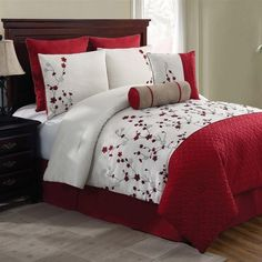 NEW Bed Bag Queen King 5 pc Red White Floral Comforter Pillows Set Embroidered in Bed-in-a-Bag | eBay