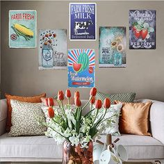 TISOSO Two Glass Bottle Floral Sunflowers Poppies Metallic Tin Signal Wall Artwork Decor for Residing Room Classic Artwork Espresso Bar Indicators House Decor Presents Ornament Wall Decor Set, Flower Wall Decor, Garden Wall Art, Home Wall Art, Interior Design Themes, Metal Sculpture Wall Art, Classic Artwork, Butterfly Wall Art, Floral Wall Art