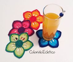 ColoridoEcletico: Passo a Passo - Porta Copos de Flores