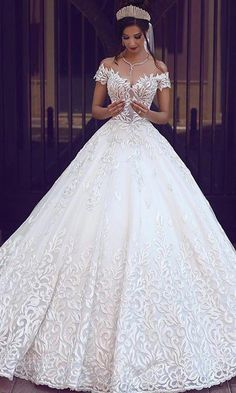 4873734748 Eyecatching Tulle Off-the-shoulder Neckline A-line Wedding Dress With