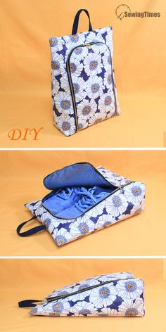 Small Sewing Projects, Sewing Crafts, Bag Patterns To Sew, Sewing Patterns, Patchwork Patterns, Patchwork Designs, Shoe Bags For Travel, Pouch Pattern, Purse Organizer Pattern