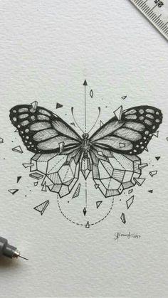 butterfly tattoo meaning ; butterfly tattoo behind ear ; butterfly tattoo on foot Yellow Butterfly Tattoo, Monarch Butterfly Tattoo, Butterfly Tattoo Meaning, Butterfly Drawing, Butterfly Tattoo Designs, Drawings Of Butterflies, Geometric Tattoo Butterfly, Vintage Butterfly Tattoo, Tattoo Vintage