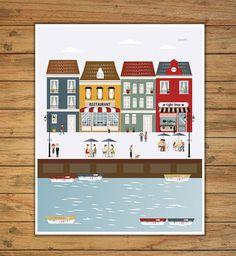 laminas decorativas laminas ciudades laminas por Ilustracionymas